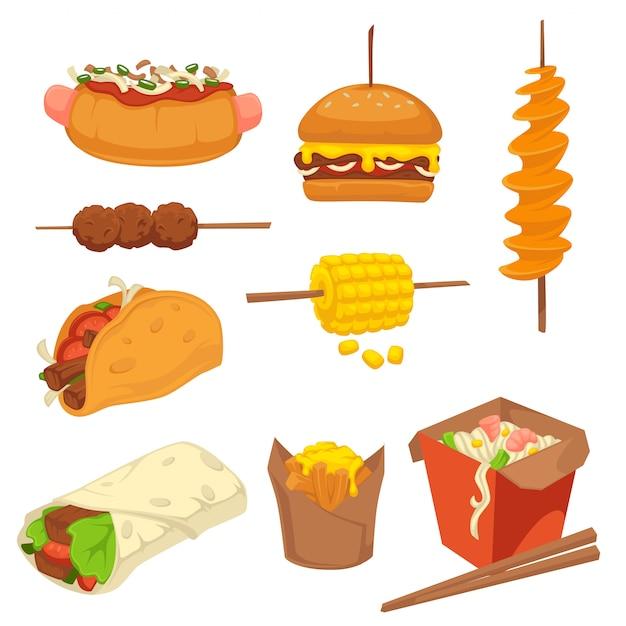 Smaczne świeże produkty fast food z zestawem wysokokalorycznym Premium Wektorów