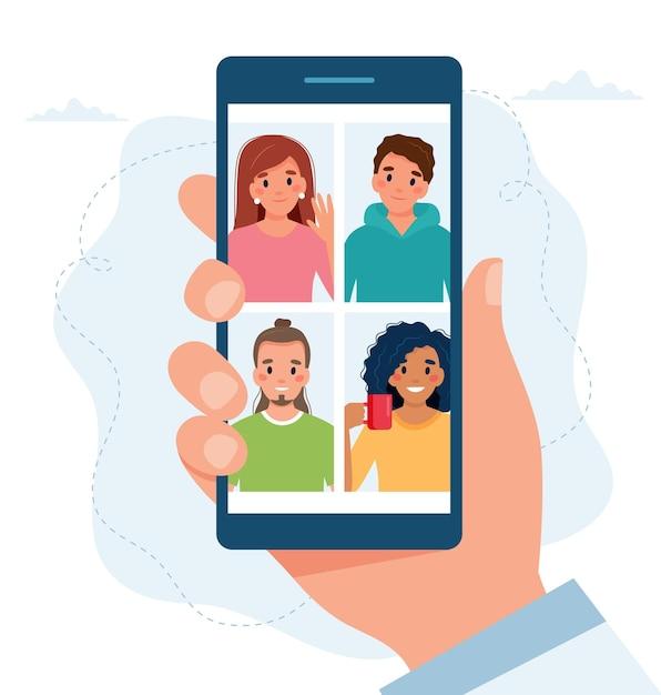 Smarphone Z Grupą Osób Wykonujących Połączenie Grupowe. Spotkanie Online Za Pośrednictwem Wideokonferencji. Premium Wektorów