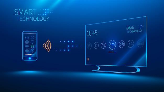 Smart tv jest sterowany przez inteligentny telefon, przesyła informacje Premium Wektorów