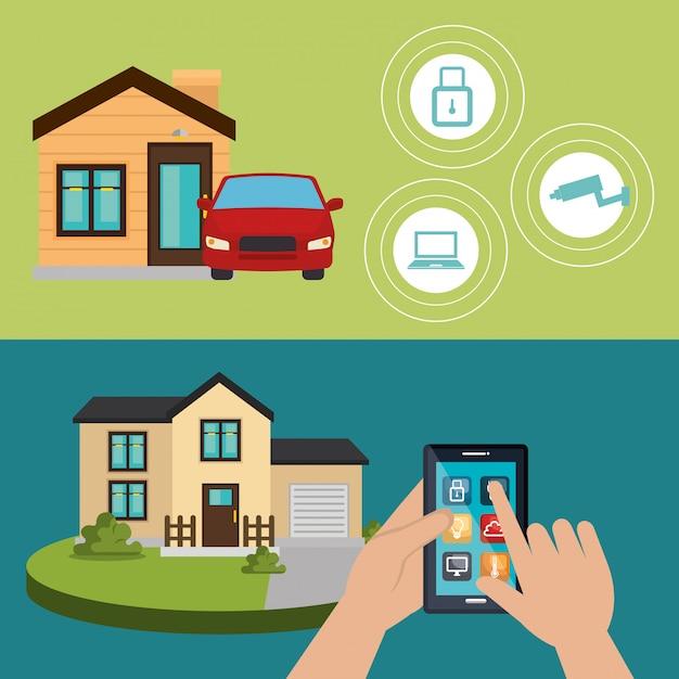 Smartfon kontrolujący inteligentny dom Darmowych Wektorów