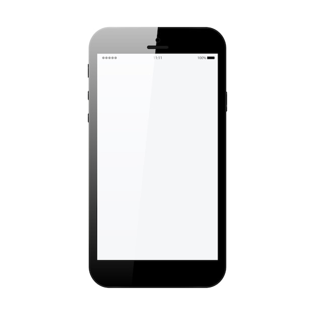Smartfon W Kolorze Czarnym Stylu Telefonu Z Pustym Ekranem Dotykowym Na Białym Tle Na Ilustracji Wektorowych Biały Premium Wektorów