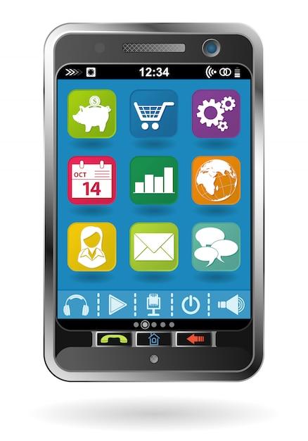 Smartfon z ikonami Premium Wektorów