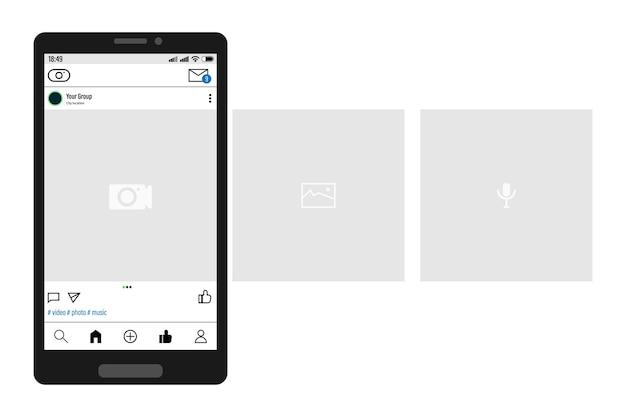 Smartfon Z Interfejsem Karuzeli Publikuje W Sieci Społecznościowej. Premium Wektorów
