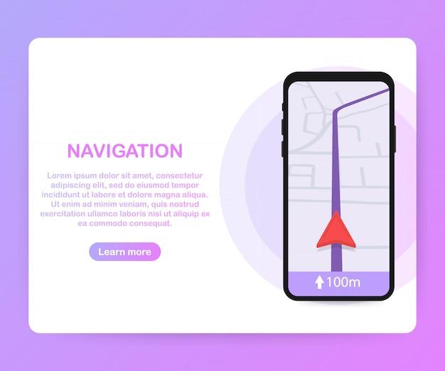 Smartfon Z Mobilną Aplikacją Do Nawigacji Na Szablonie Ekranu Premium Wektorów