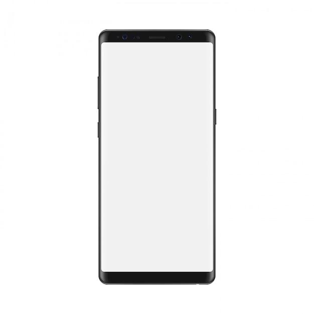 Smartfon z pustym białym ekranem. odosobniony Premium Wektorów