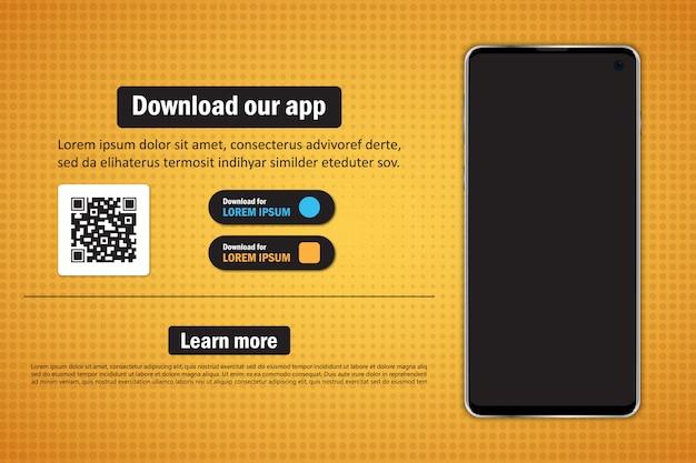 Smartfon Z Pustym Ekranem Do Pobrania Aplikacji Z Kodem Qr Premium Wektorów