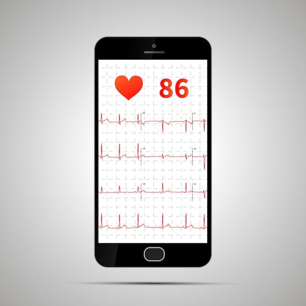 Smartfon z typowym elektrokardiogramem ludzkim Premium Wektorów