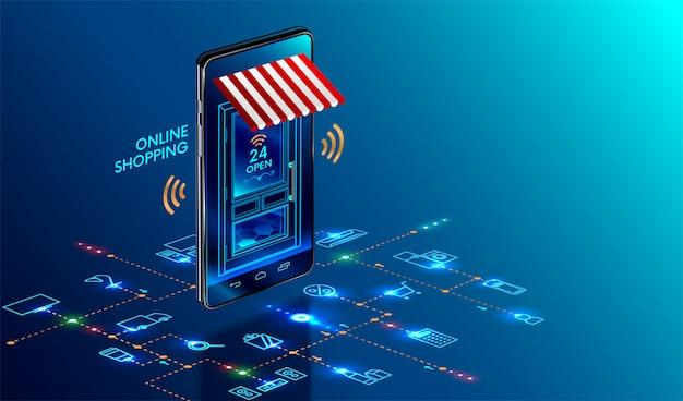 Smartfon zamienił się w sklep internetowy Premium Wektorów