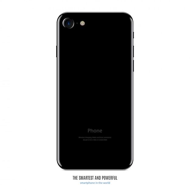 Smartphone Czerni Koloru Zadka Widok Odizolowywający Premium Wektorów