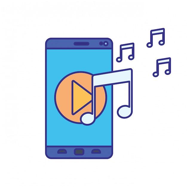 Smartphone ekranu z ikoną muzyki na białym tle Premium Wektorów