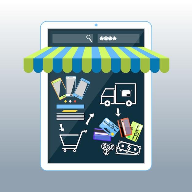 Smartphone koncepcja zakupy internetowe z markizą Premium Wektorów