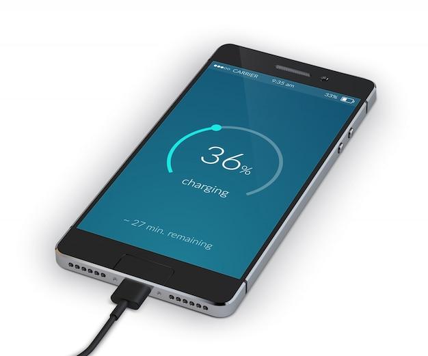 Smartphone ładowanie na białym tle Darmowych Wektorów