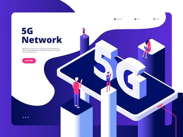 Smartphone Nadawca Technologia Prędkość Internet Szerokopasmowy Piąty Punkt Dostępowy Wifi Globalna Sieć Telekomunikacyjna Premium Wektorów