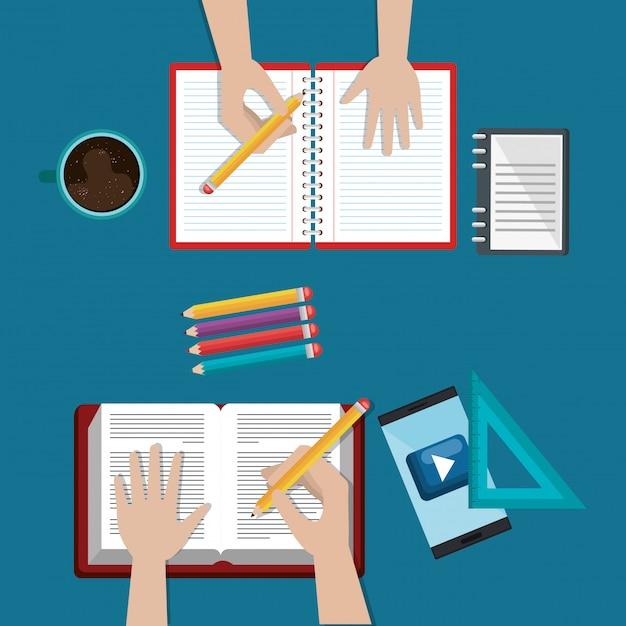Smartphone z edukacją łatwe e-learningowe ikony Darmowych Wektorów