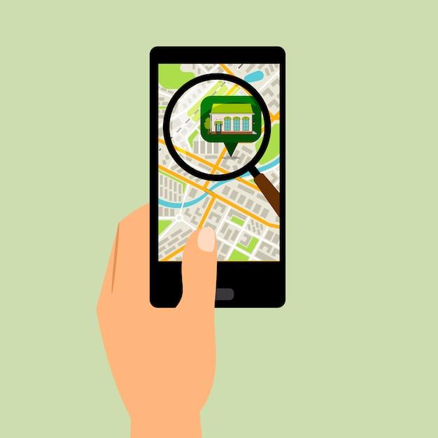 Smartphone Z Mapą Lokalizacji Supermarketu Premium Wektorów