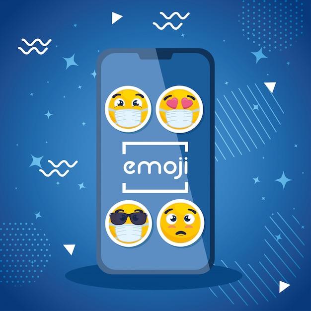 Smartphone Z Ustalonymi Emoji, Kolor żółty Stawia Czoło W Smartphone Urządzenia Wektorowym Ilustracyjnym Projekcie Premium Wektorów