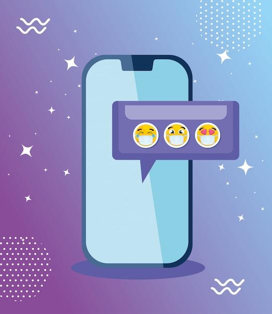 Smartphone Z Ustalonymi Emoji, żółte Twarze W Mowie Gulgoczemy Z Smartphone Urządzenia Wektorowym Ilustracyjnym Projektem Premium Wektorów