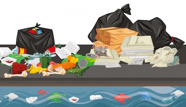 Śmieci Na Scenie Ulicznej Darmowych Wektorów