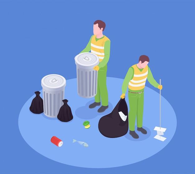 Śmieci Odpady Przetwarza Izometryczny Skład Z Beztwarzowymi Ludzkimi Charakterami śmieciarz Z Kosz Na śmieci I Szczotkarską Wektorową Ilustracją Darmowych Wektorów