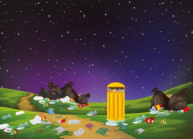 Śmieci W Scenie Parkowej Darmowych Wektorów