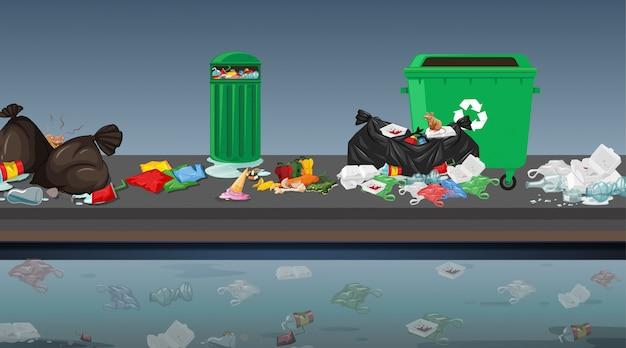 Śmieci W Scenie Ulicznej Darmowych Wektorów