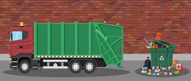 Śmieciarka I śmieci Premium Wektorów