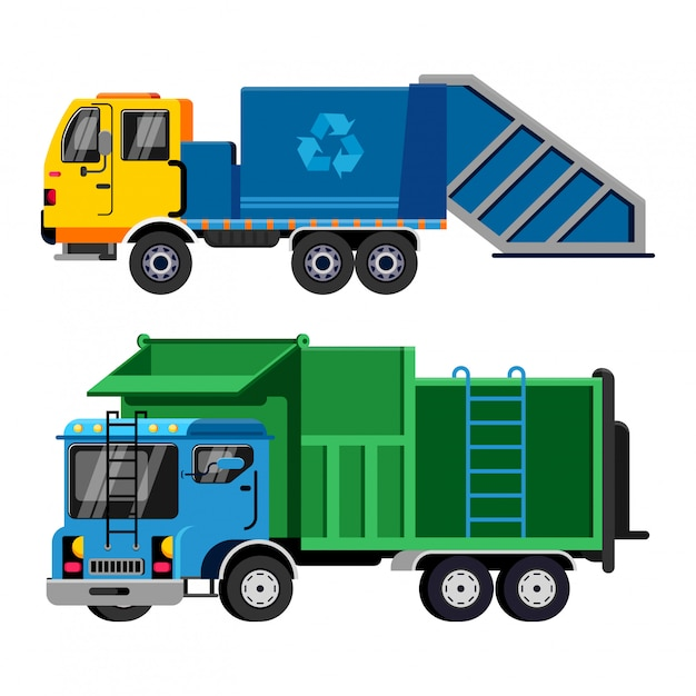 Śmieciarka Wektor Transportu Pojazdu śmieci Premium Wektorów