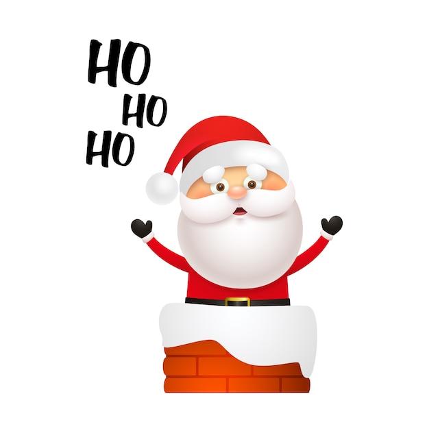 Śmiejąc Się święty Mikołaj Wchodzi Do Komina Darmowych Wektorów