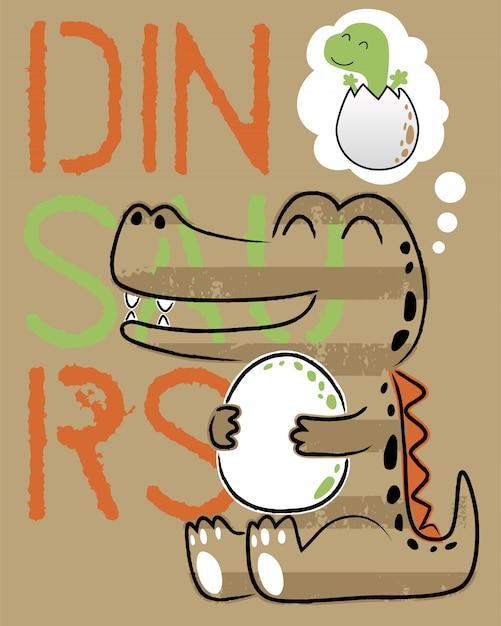 Śmieszna Dinosaur Kreskówka Z Swój Jajkiem Premium Wektorów
