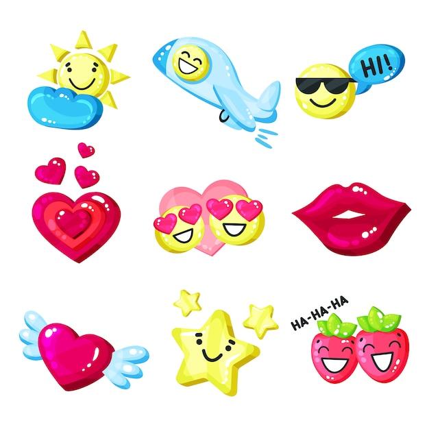 Śmieszna Kolorowa Kreskówka Kolorowa Glansowana Uśmiech Maskotka Ustawia Ilustrację Na Białym Tle Premium Wektorów