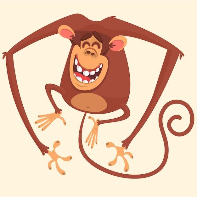 Śmieszna Małpia Kreskówki Ilustracja Premium Wektorów
