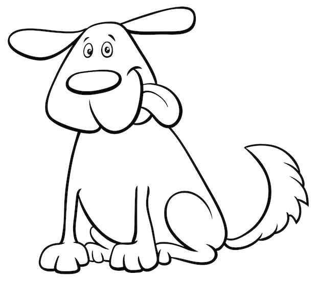 Śmieszna Psia Zwierzę Domowe Postać Z Kreskówki Koloru Książka Premium Wektorów
