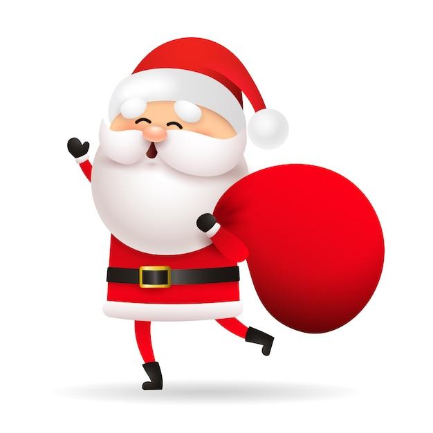 Śmieszna święty Mikołaj Mienia Torba Z Prezentami Darmowych Wektorów