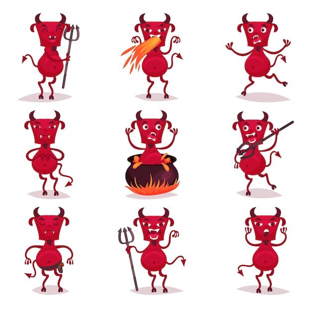 Śmieszne Czerwone Diabły Z Rogami I Ogonami, Demoniczne Postacie Z Kreskówek Z Różnymi Emocjami Ilustracje Premium Wektorów