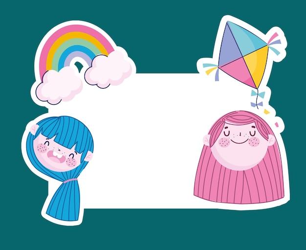 Śmieszne Dziewczyny Twarze Z Tęczowym Latawcem I Szablonem Transparentu, Ilustracja Dzieci Premium Wektorów
