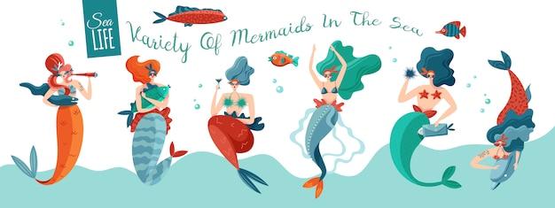 Śmieszne Figlarne Seksowne Syreny W Falach Morskich Z Podwodnego świata Stworzeń Poziome Sztandar życia Oceanu Darmowych Wektorów