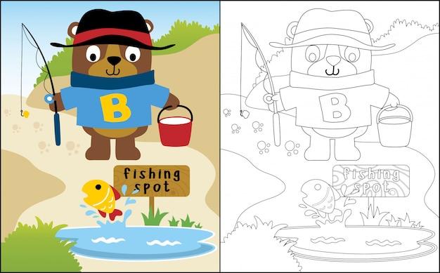Śmieszne Kreskówka Niedźwiedź Połowów Premium Wektorów