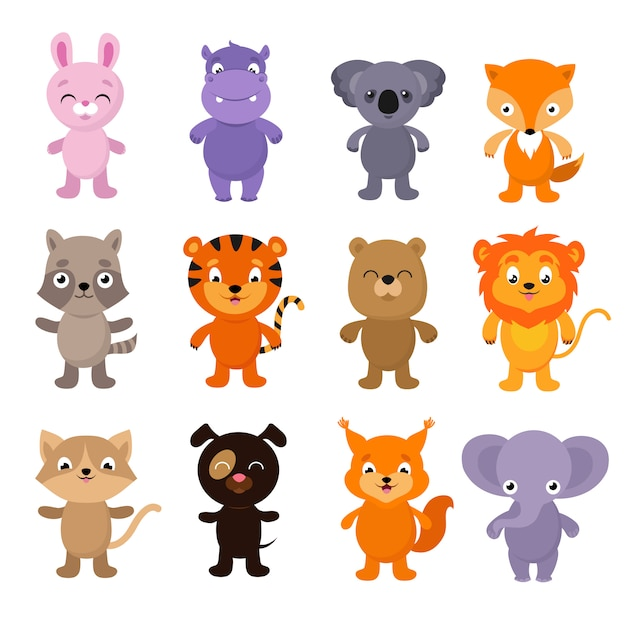 Śmieszne kreskówki młodych zwierząt wektor znaków kolekcji Premium Wektorów
