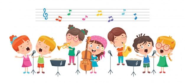 Śmieszne Małe Dzieci Wykonujące Muzykę Premium Wektorów
