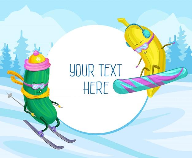 Śmieszne Ogórki I Bananowe Postacie Ilustracja Na Nartach I Snowboardzie, Element Projektu Plakatu Lub Banner Z Miejsca Kopiowania Tekstu Premium Wektorów