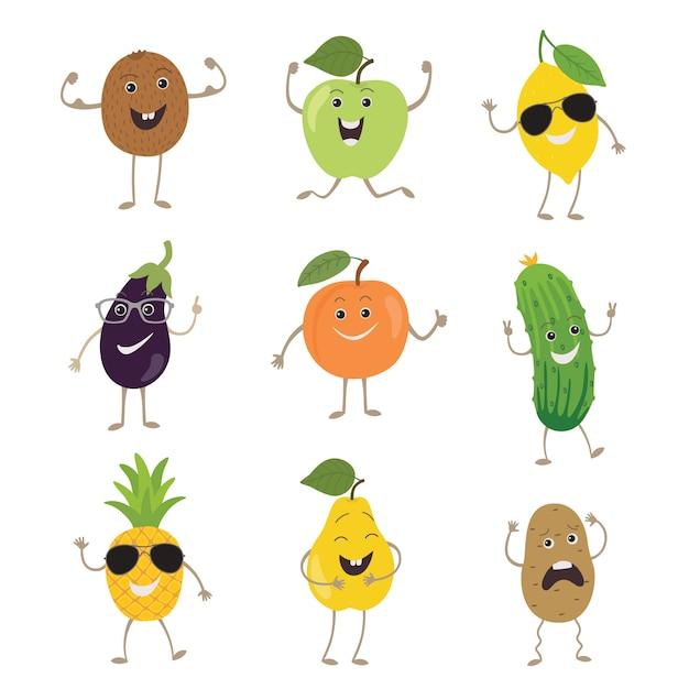 Śmieszne Owoce I Warzywa Premium Wektorów