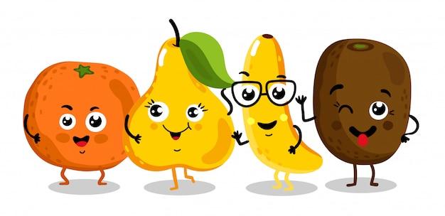 Śmieszne owoce na białym tle postaci z kreskówek Premium Wektorów