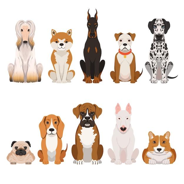 Śmieszne Psy Ilustracje W Stylu Cartoon. Premium Wektorów