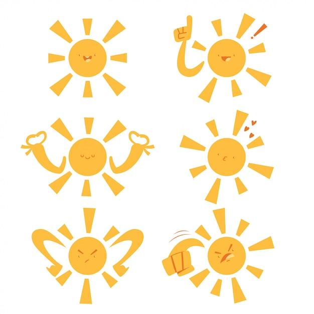 Śmieszne Słońce Z Różnymi Emocjami I Wyrażeniami Premium Wektorów