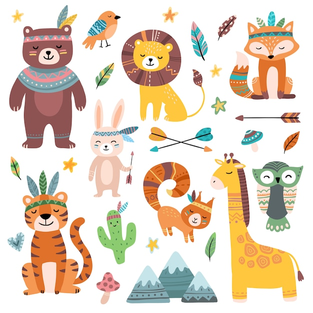 Śmieszne zwierzęta plemienne. leśne dziecko zwierząt, słodkie dzikie lisy leśne i plemiona dżungli zoo na białym tle zestaw postaci z kreskówek Premium Wektorów