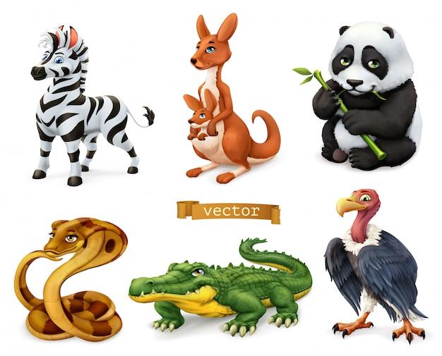 Śmieszne Zwierzęta. Zebra, Kangur I Niedźwiedź, Kobra, Krokodyl, Sęp. Zestaw Ikon 3d Premium Wektorów