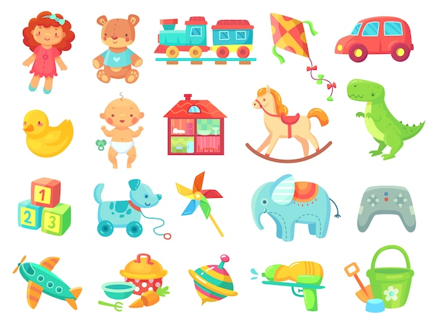 Śmieszny Pluszowy Niedźwiedź Dziewczyny Lali Zabawkarskiego Samochodu Kolorowy Plastikowych Zabawek Przedmiotów Kolekcja Premium Wektorów