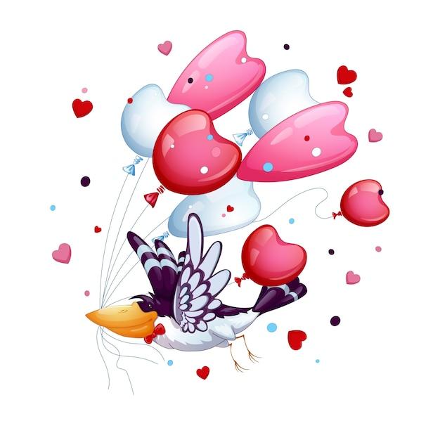 Śmieszny ptak z krawata motylem lata z wiązką balony - serca. walentynki. Premium Wektorów