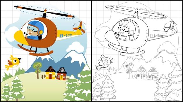 Śmigłowcowa Kreskówka Z Małym Pilotem Na Krajobrazowym Tle Premium Wektorów