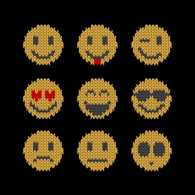 Smile face dzianiny płaski emotikon zestaw różnych emocji Premium Wektorów